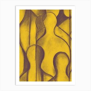 The Commute The Crowd Mustard Art Print