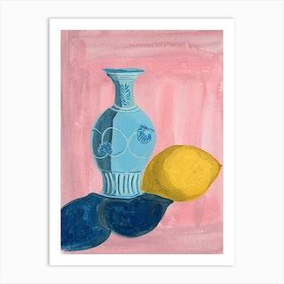 Blue Vase And Lemon Art Print