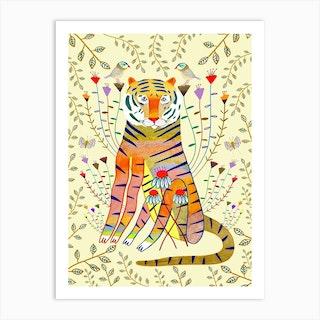 Tiger Gold Leaves Art Print