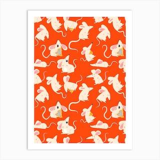 Rats Pattern Art Print