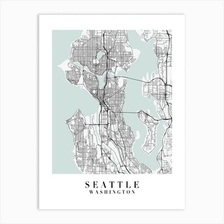 Seattle Washington Street Map Minimal Color Art Print