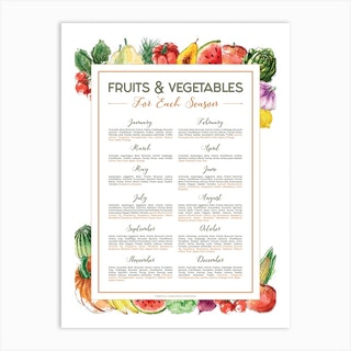Seasonal Fruits And Fegetables Art Print
