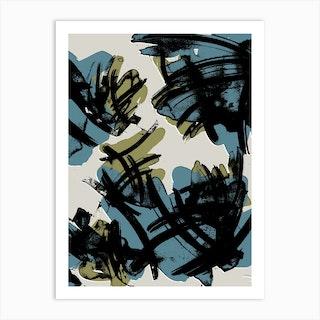 Teal And Khaki Art Print