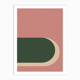Abstract Pink And Green Arches Art Print
