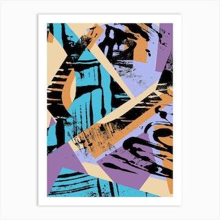 Orange, Blue And Purple Collage Art Print
