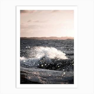Wave Sunset Glitter Art Print