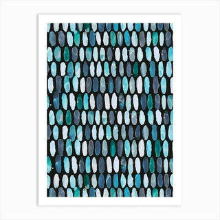 Pills Blue Black Bg Art Print