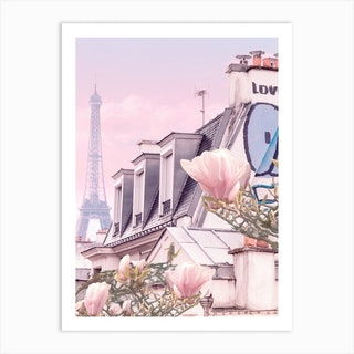 Paris With Its Eiffel Tower And Magnolias  Art Print