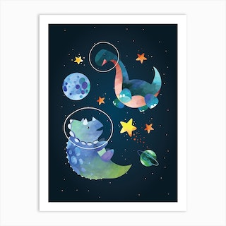 Watercolour Space Dinosaur Triceratops Art Print