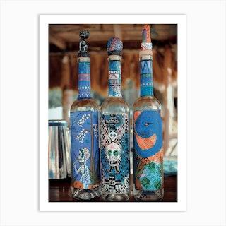 Artsy Tequila Bottles On Isla Holbox Mexico Art Print
