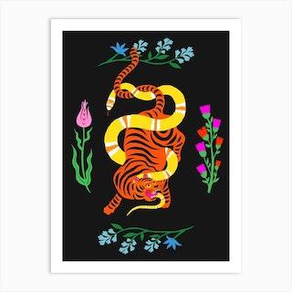 Tiger And Snake Battle Flowers Art Print