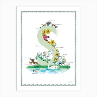 S Is For In Green Art Print