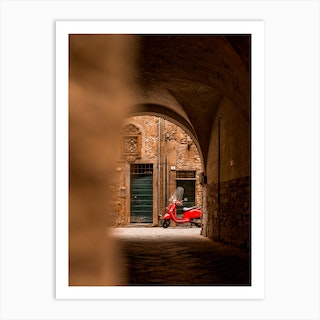 Red Vespa In Lucca Tuscany Art Print