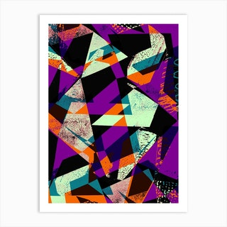 Purple And Orange Geo Art Print