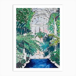 A Solitary Walk At Kew Gardens Plant House Interior Art Print