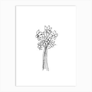 Daffodils Line Drawing Art Print