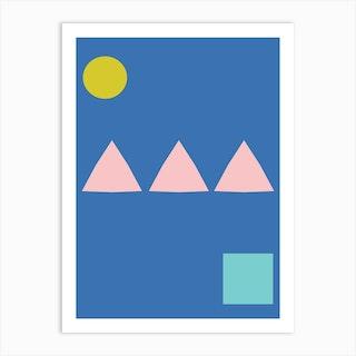 Minimalist Shapes In Blue 1 Art Print