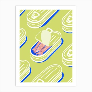 Sleeping Sardines In Lime And Pink Art Print