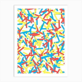 Confetti Party Red Yellow Blue Art Print