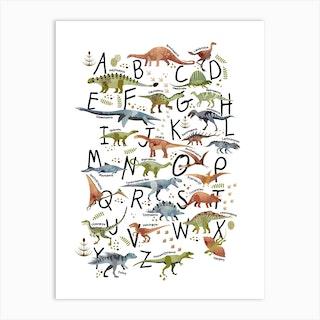 Watercolour Dinosaur Alphabet Art Print