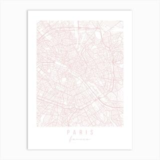 Paris France Light Pink Minimal Street Map Art Print
