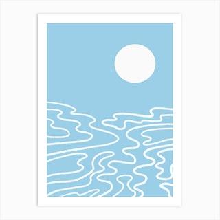 Blue Ocean Waves Art Print