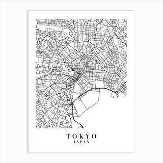 Tokyo Japan Street Map Minimal Art Print