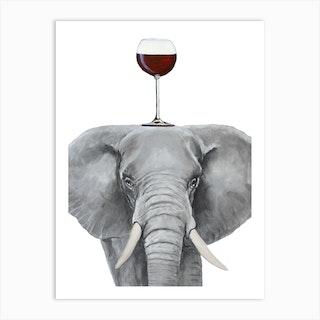 Elephant With Wineglass Art Print
