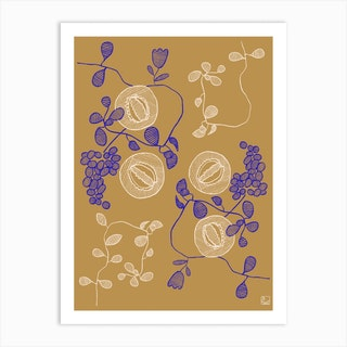 Embroidered Flowers Art Print
