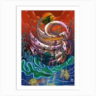 Purple Swan Art Print