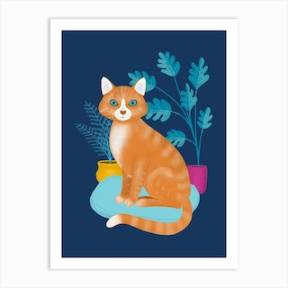 Ginger Tabby Cat With Plants Art Print