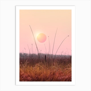 Minimal Sunset In The Forest Art Print