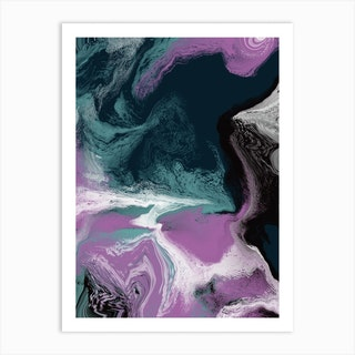 Fluid Abstract Oil Purple Green 1 Art Print