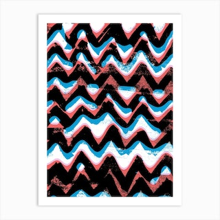 Blue And Red Zigzags Art Print