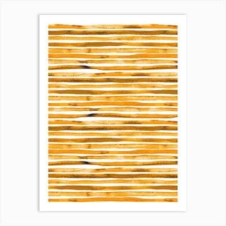 Watercolor Stripes Yellow Art Print