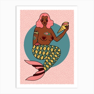 Amber Pink Haired Mermaid Art Print