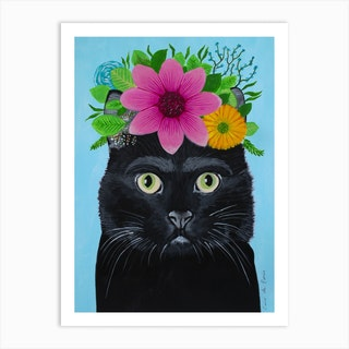 Frida Kahlo Black Cat Art Print