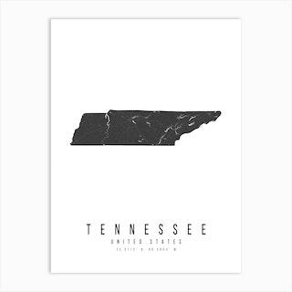 Tennessee Mono Black And White Modern Minimal Street Map Art Print