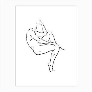 Male Body Sketch 1 Black And White Art Print