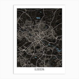Leeds Black Blue Art Print