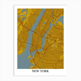 New York New York Yellow Blue Art Print