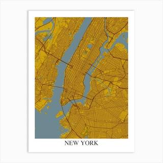 New York New York Yellow Blue Art Print