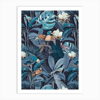 Tropical Midnight Birds Art Print