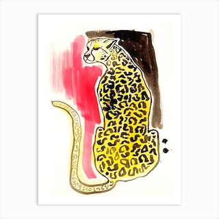 Leopard With Pink Art Print