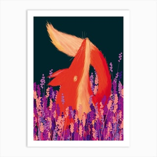 Lavender Fox Art Print