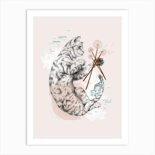 Cat And Dandelion Art Print