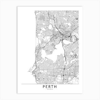 Perth White Map Art Print Std Art Print