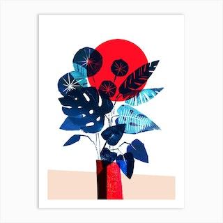 Blue Flowers In Red Vase Art Print