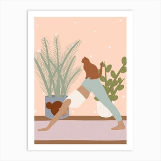 Cat Yoga Art Print