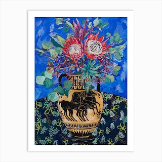 Protea Bouquet On Ultramarine Blue With Greek Horse Urn Art Print